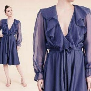 Vintage 70's Dress Chiffon Sheer Sleeve Secretary